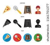 a pizza cutter  a slice  a menu ... | Shutterstock .eps vector #1161701377