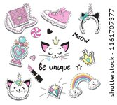 fashion patch badges with cat... | Shutterstock .eps vector #1161707377
