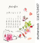 november 2019 calendar with ink ... | Shutterstock .eps vector #1161713437
