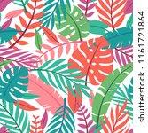 tropical vector green leaves... | Shutterstock .eps vector #1161721864