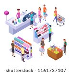 isometric grocery store. 3d... | Shutterstock .eps vector #1161737107
