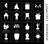 set of 16 icons such as sun ...