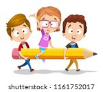 smiling boys carry girl in... | Shutterstock .eps vector #1161752017