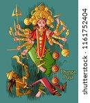 vector design of indian goddess ... | Shutterstock .eps vector #1161752404
