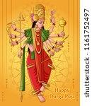 vector design of indian goddess ... | Shutterstock .eps vector #1161752497