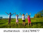 large group of kids running in... | Shutterstock . vector #1161789877