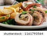 chicken breast stuffed with...   Shutterstock . vector #1161793564