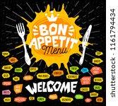bon appetit menu welcome  fork  ... | Shutterstock .eps vector #1161794434