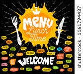 menu lunch time logo  fork ... | Shutterstock .eps vector #1161794437