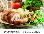 chicken breast stuffed with... | Shutterstock . vector #1161796027
