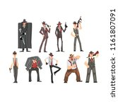 gangster set  criminal... | Shutterstock .eps vector #1161807091