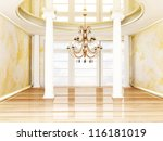 columns and a chandelier in... | Shutterstock . vector #116181019