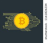 bitcoin sign with computer chip.... | Shutterstock . vector #1161826234