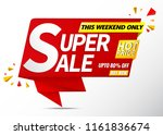 super sale banner red | Shutterstock .eps vector #1161836674