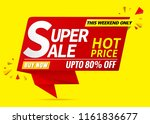 super sale banner red on yellow ... | Shutterstock .eps vector #1161836677