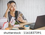 unhappy woman failure from her... | Shutterstock . vector #1161837391