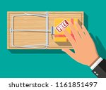 wooden mouse trap with gift box ... | Shutterstock .eps vector #1161851497
