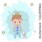 cute baby boy prince cartoon... | Shutterstock .eps vector #1161859861