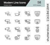 cctv camera icons. modern line...