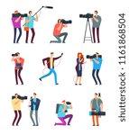 journalist cameraman. people...   Shutterstock .eps vector #1161868504