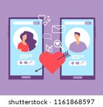 romance online dating. loving... | Shutterstock .eps vector #1161868597