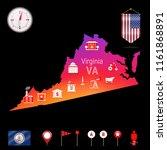 virginia vector map  night view....   Shutterstock .eps vector #1161868891