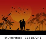lovers in a city park with... | Shutterstock . vector #116187241