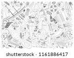 hand drawn beach or summer time ... | Shutterstock .eps vector #1161886417