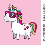 a cool unicorn wearing... | Shutterstock .eps vector #1161931807