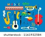 hand drawn various musical... | Shutterstock .eps vector #1161932584