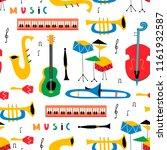 hand drawn various musical... | Shutterstock .eps vector #1161932587