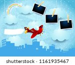surreal skyline with airplane ... | Shutterstock .eps vector #1161935467