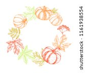autumn background. wreath with... | Shutterstock .eps vector #1161938554