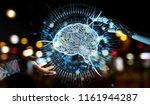 white humanoid hand on blurred... | Shutterstock . vector #1161944287
