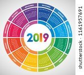 colorful round calendar 2019... | Shutterstock .eps vector #1161957691