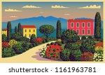 mediterranean romantic... | Shutterstock .eps vector #1161963781