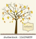 autumn tree over grass  vintage ...