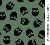 Stock vector vector illustration seamless cute pattern owls on the khaki background 1161972847