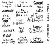 set of halloween inscriptions | Shutterstock . vector #1161979861