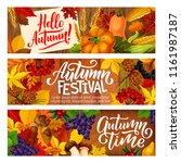 hello autumn festival banners... | Shutterstock .eps vector #1161987187