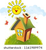 fairy tale house stands on hill ... | Shutterstock .eps vector #1161989974