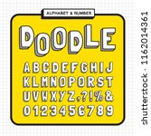 doodle alphabet and number set. ... | Shutterstock .eps vector #1162014361