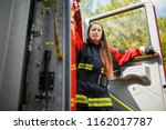 photo of young fire woman with... | Shutterstock . vector #1162017787