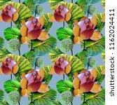 lotus seamless pattern.... | Shutterstock . vector #1162024411