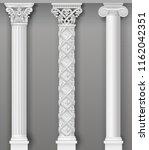 classic antique white columns... | Shutterstock .eps vector #1162042351