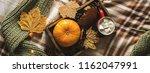 autumn still life from tray... | Shutterstock . vector #1162047991