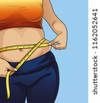 woman with fat belly  | Shutterstock .eps vector #1162052641