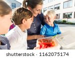 mum and children having veggie... | Shutterstock . vector #1162075174