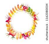 bright autumn round frame of...   Shutterstock . vector #1162080034