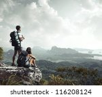 hikers with backpacks enjoying...   Shutterstock . vector #116208124